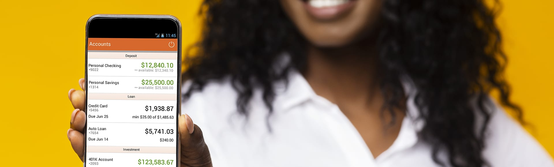 I like this cellphone. Millennial african-american girl showing mobile phone with blank screen, yellow background