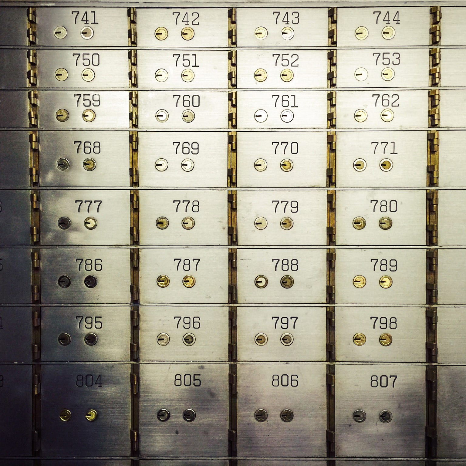 Wall of safe deposit boxes inside a bank vault