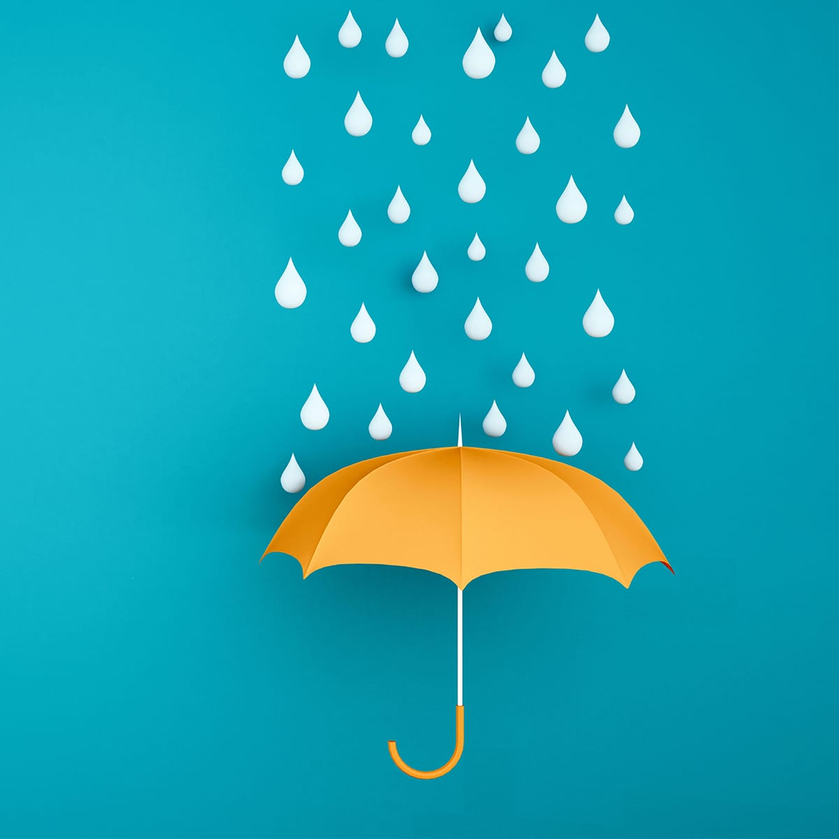 Orange umbrella with water drop on a blue backdrop - Rainy season for artwork - Orange umbrella with the weather in the rainy season - 3D Illustration