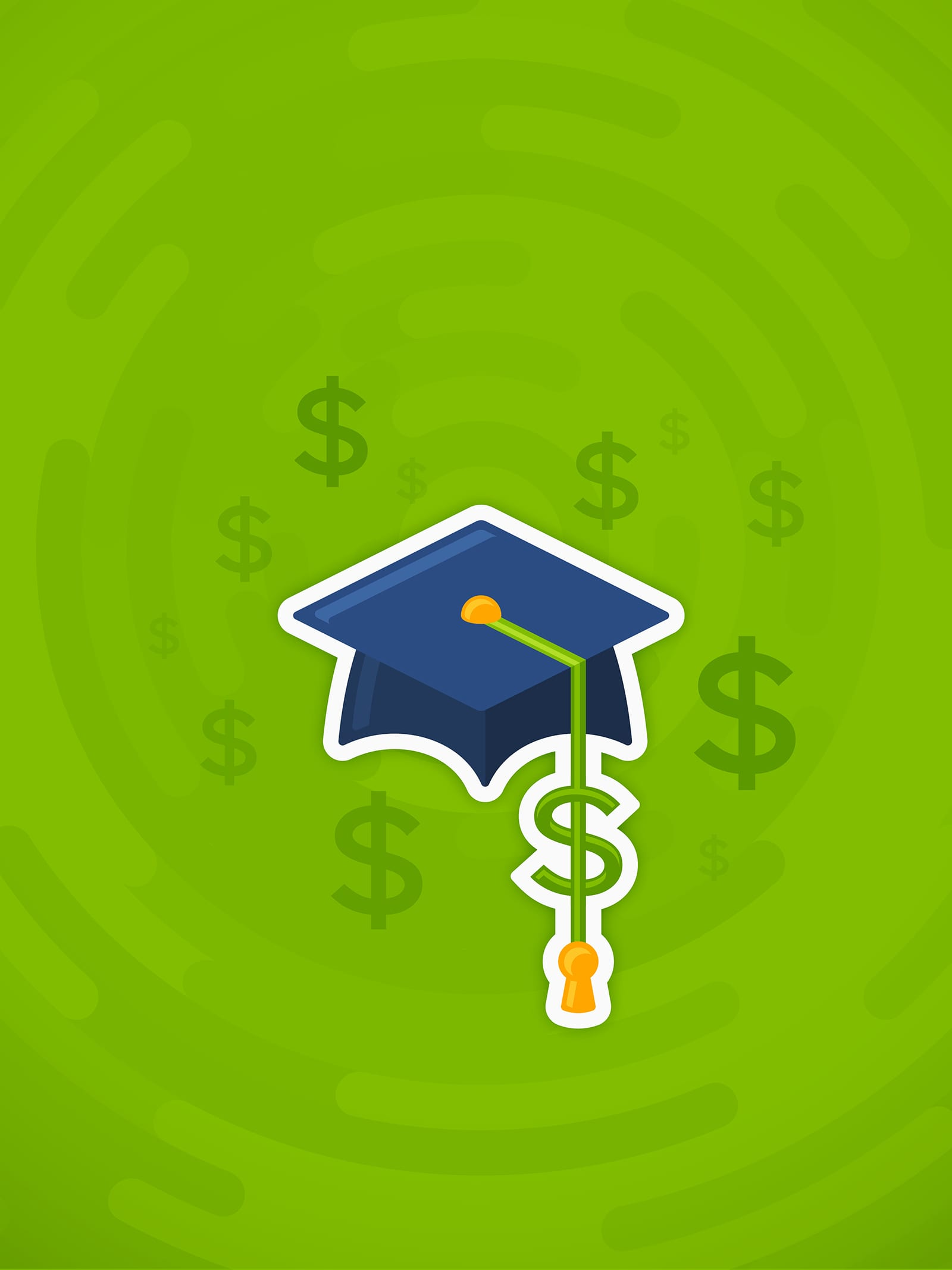 Zeal college and university tuition cost or student debt expense concept green illustration with cap and dollar signs.